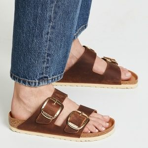 Birkenstock Arizona Big Gold Buckle Sandal Cognac